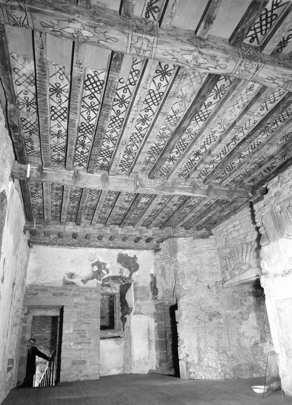 Huntingtower Castle, interior. General view of painted ceiling.