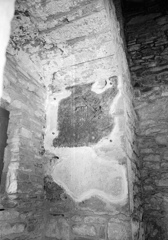 Huntingtower Castle, interior. View of stairway blocked by carved stone.