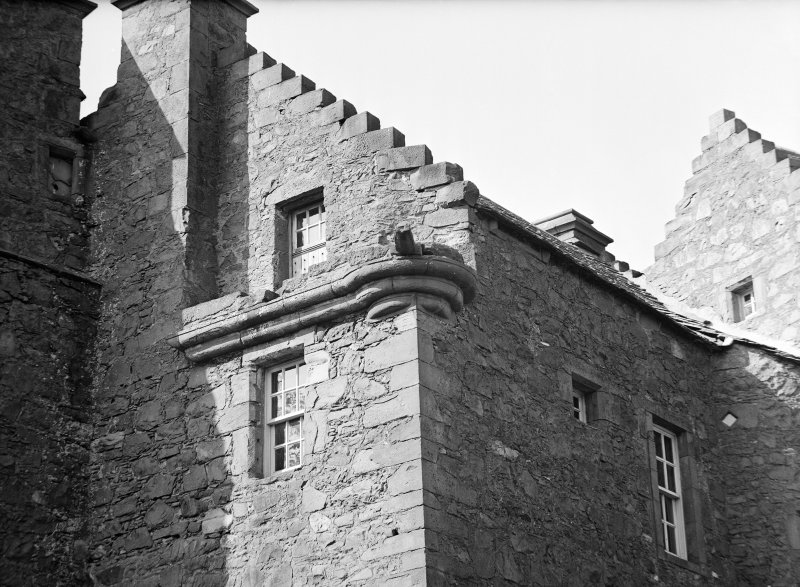 Dundee, Claypotts Road, Claypotts Castle. View of South-East angle of keep showing corbelling.