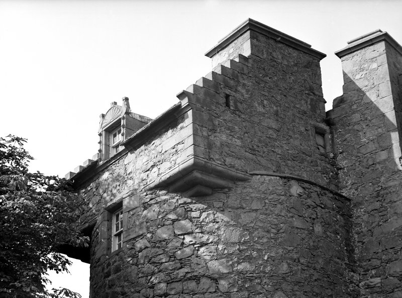 Dundee, Claypotts Road, Claypotts Castle. View of South-East tower with corbels and dormer window.