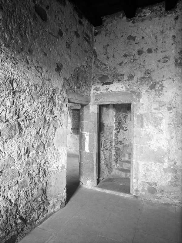 Dundee, Claypotts Road, Claypotts Castle, interior. General view of stairway.
