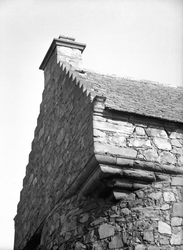 Dundee, Claypotts Road, Claypotts Castle, interior. General view of stairway and doorway, first floor of North-West tower.