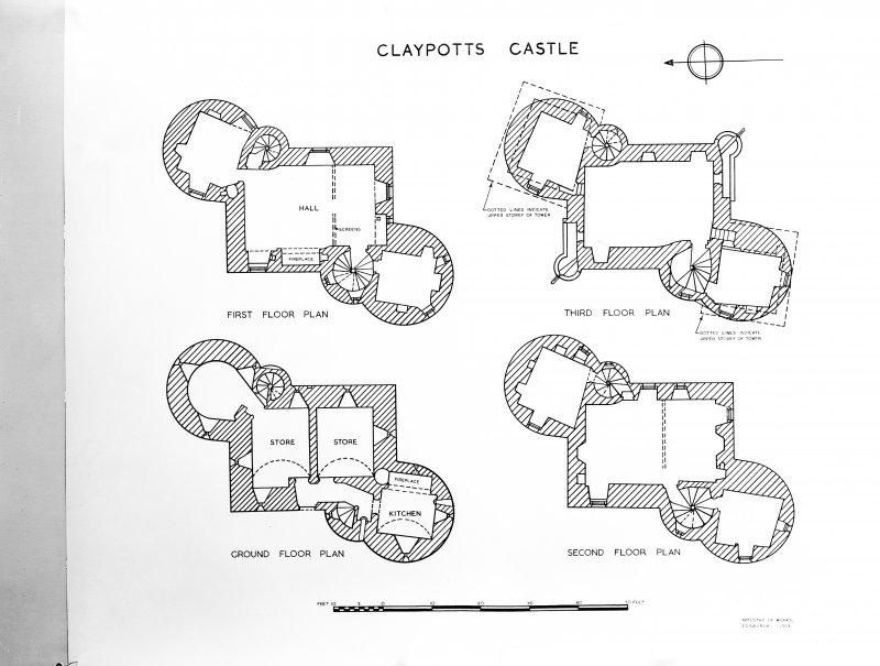 Dundee, Claypotts Road, Claypotts Castle. View of plans of castle.