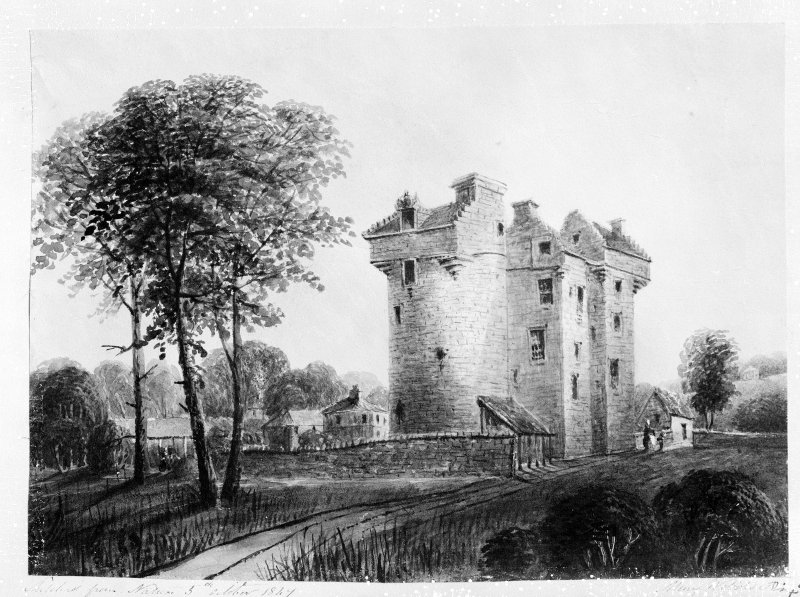 Dundee, Claypotts Road, Claypotts Castle. Photographic copy of watercolour showing the castle.