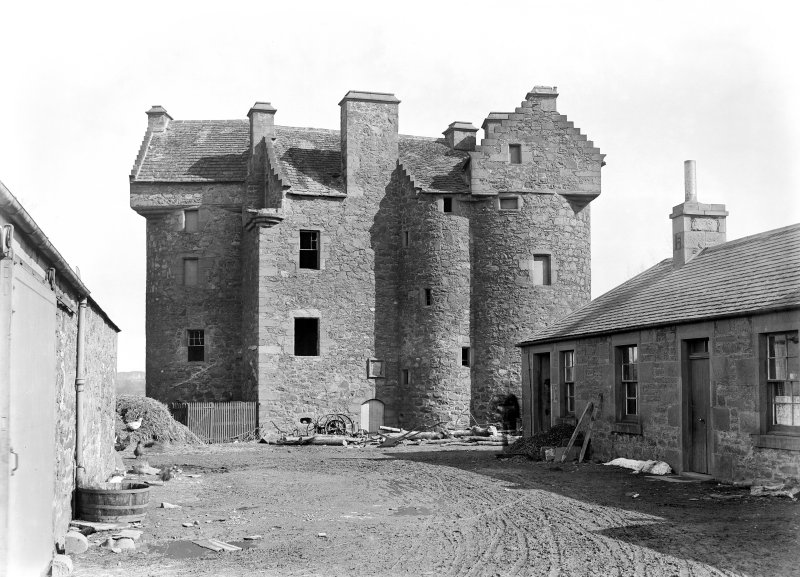 Dundee, Claypotts Road, Claypotts Castle. General view from West before repairs.