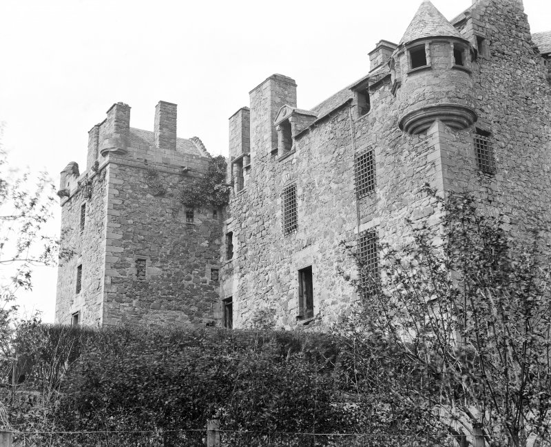 Elcho Castle. View of South-East dormer window and turret.