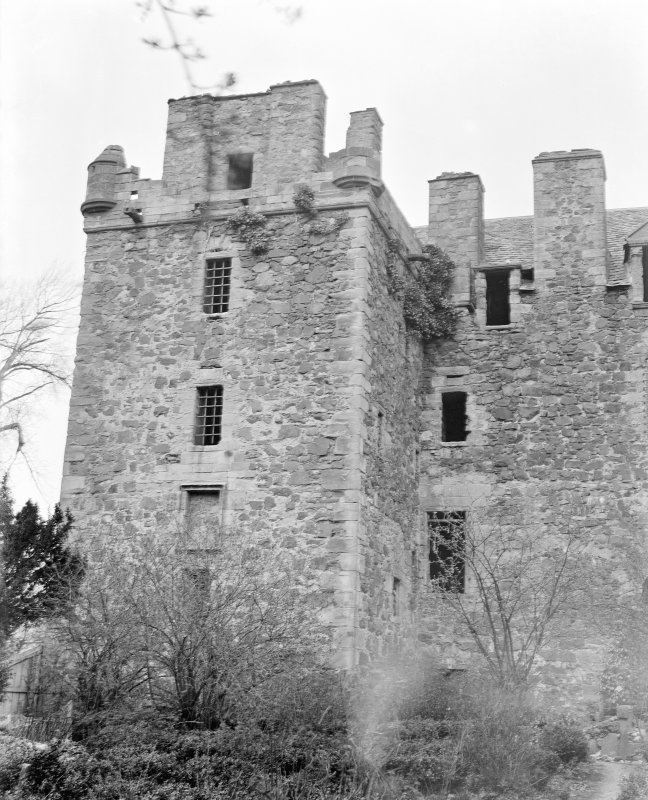 Elcho Castle. View of West tower, South front.