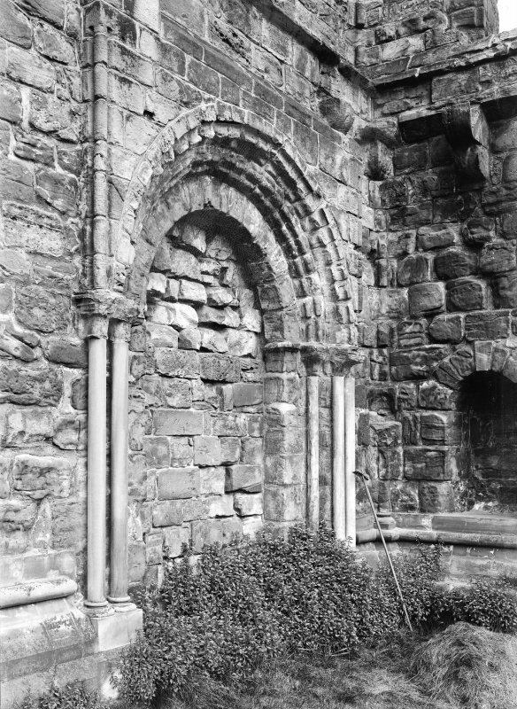Blocked semi-circular Archway entrance to Chapter House.