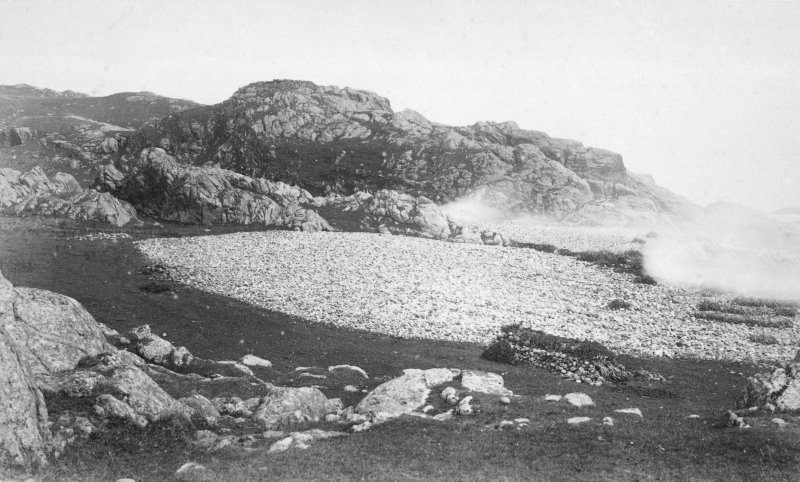 Tiree, Dun Hiader View of fort with kelp burning. Copy of original historic print annotated by Erskine Beveridge.