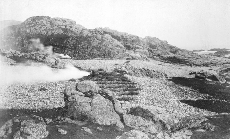 Tiree, Dun Hiader View of fort with kelp burning in foreground. Copy of original historic print annotated by Erskine Beveridge.