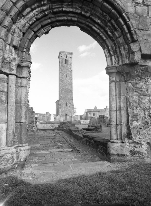 Looking through slype doorway to St Regulus' tower.