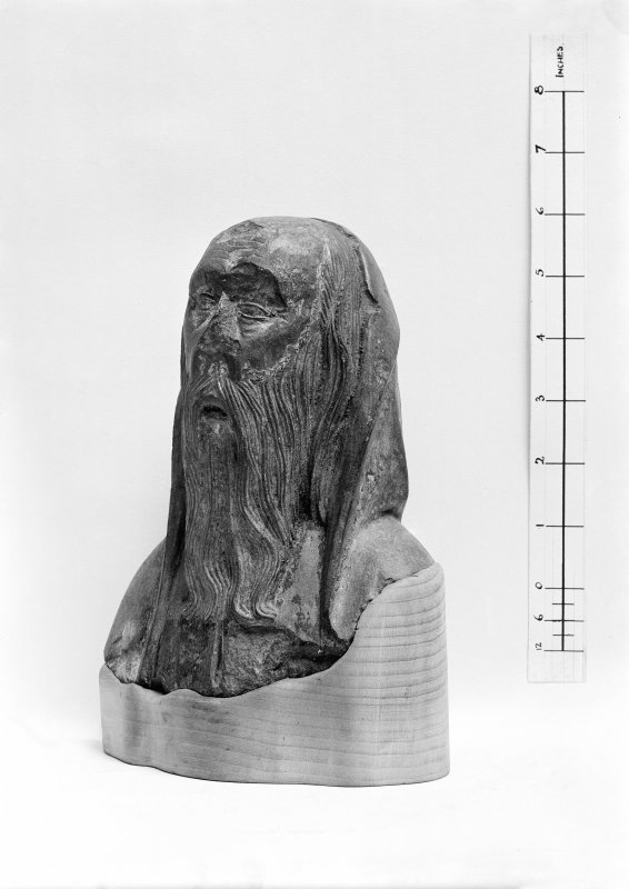 Carved head, lent to the museum by the Marquess of Bute.
