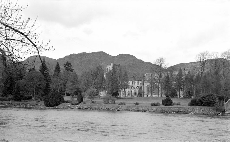 Dunkeld, Dunkeld Cathedral. View of Cathedral from South across river.