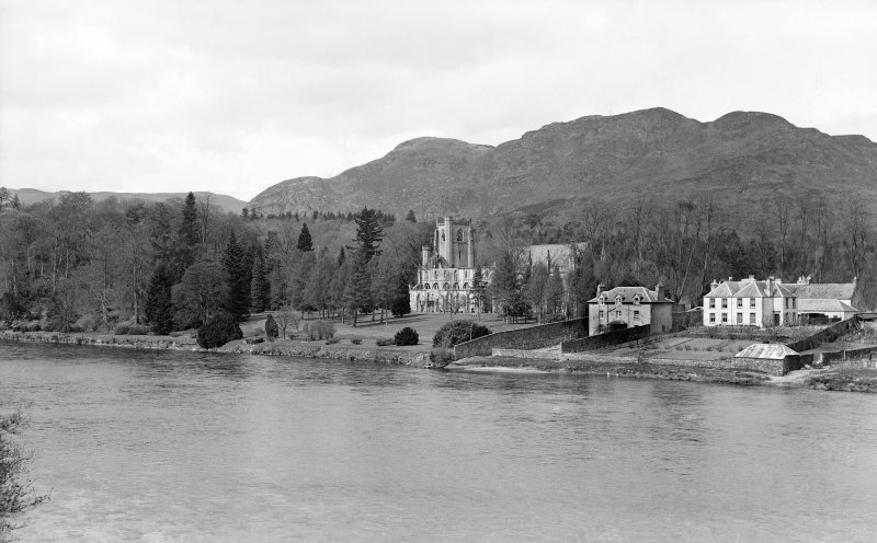 Dunkeld, Dunkeld Cathedral. View of Cathedral, Manse and houses from South-East across river.