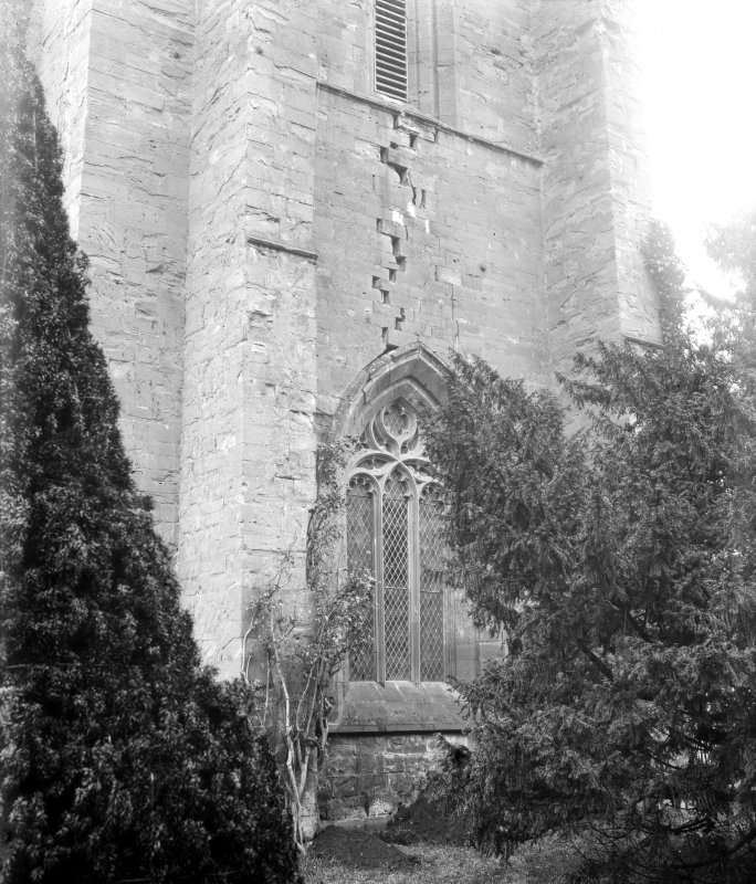 Dunkeld, Dunkeld Cathedral. View of window in tower with curvilinear tracery.