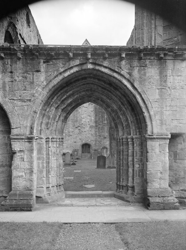 Dunkeld, Dunkeld Cathedral, interior. View of Western doorway to nave.