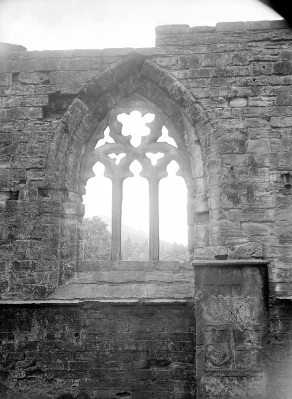 Dunkeld, Dunkeld Cathedral. View of window with geometric tracery.