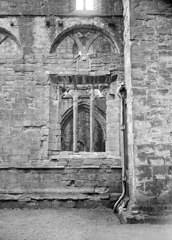 Dunkeld, Dunkeld Cathedral. View of window in angle of nave and tower.