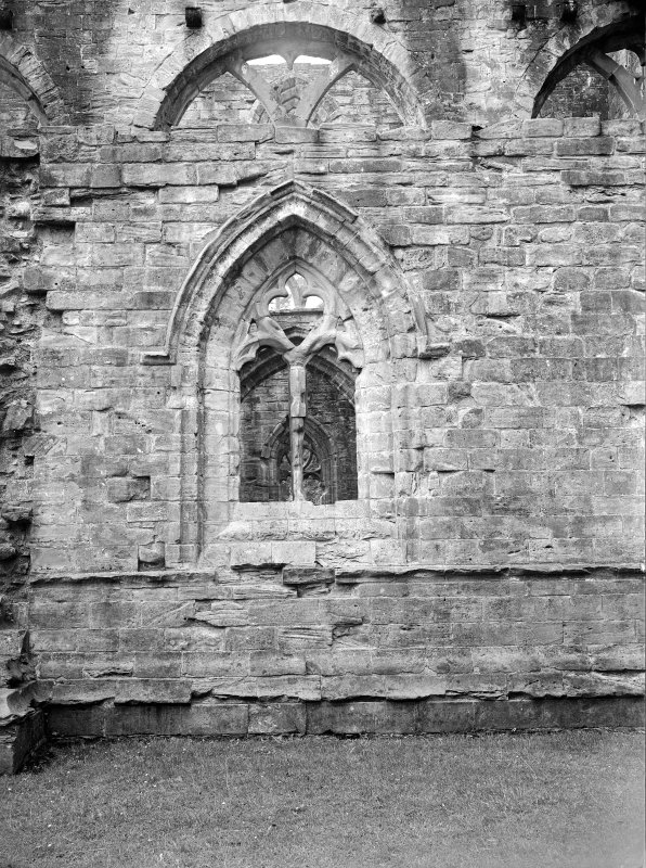 Dunkeld, Dunkeld Cathedral. View of window in exterior aisle wall.