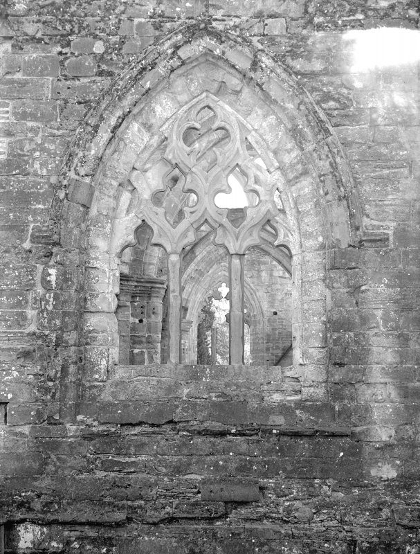 Dunkeld, Dunkeld Cathedral. View of window with geometrical tracery.