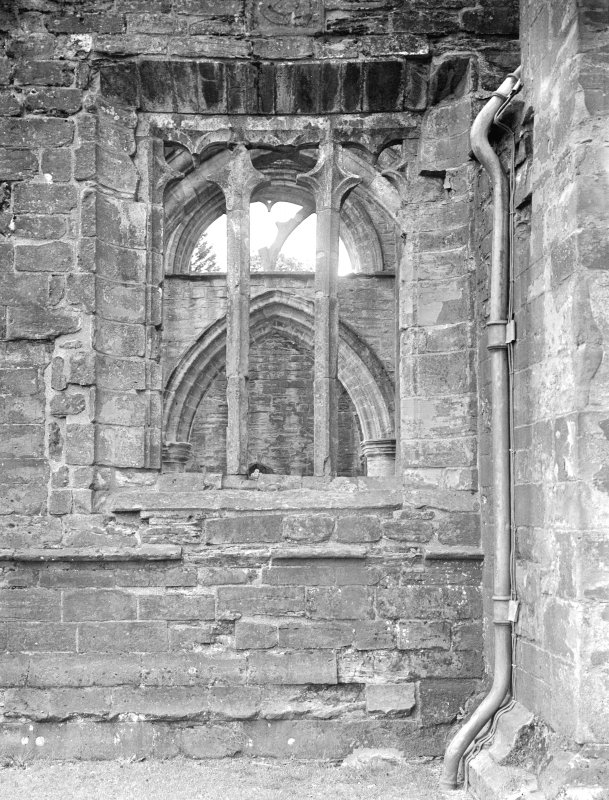 Dunkeld, Dunkeld Cathedral. View of window at junction between nave and tower.