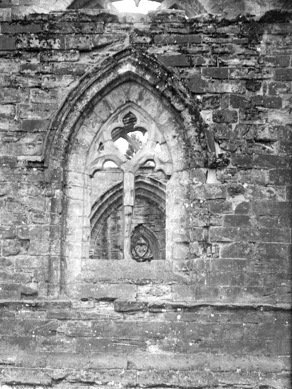 Dunkeld, Dunkeld Cathedral. View of window with tracery.