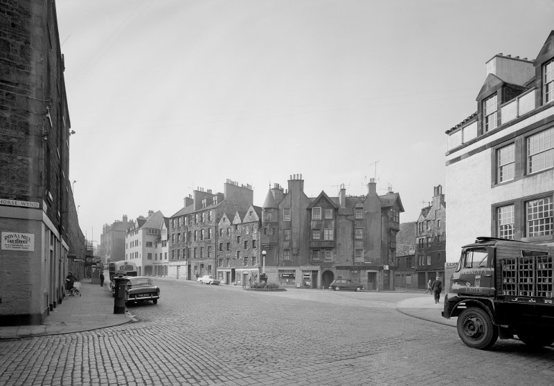View of 11-15 Canongate, Robertson's Court and West along Canongate, Edinburgh in 1965.