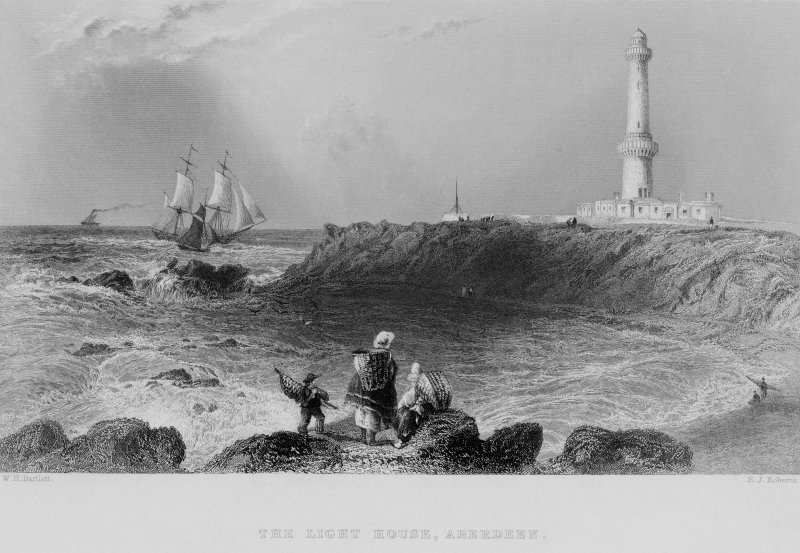 Engraving showing view of Girdleness Lighthouse, Aberdeen. Titled: 'The Light House, Aberdeen'. 'London: Published for the Proprietors by Geo: Virtue, 26, Ivy Lane, 1840'.
