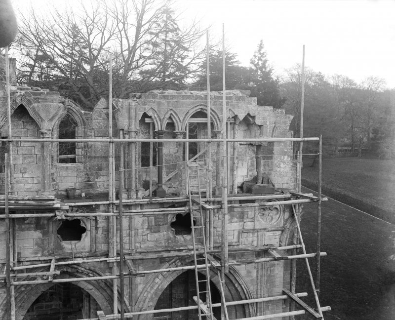 View of N transept under repair.
