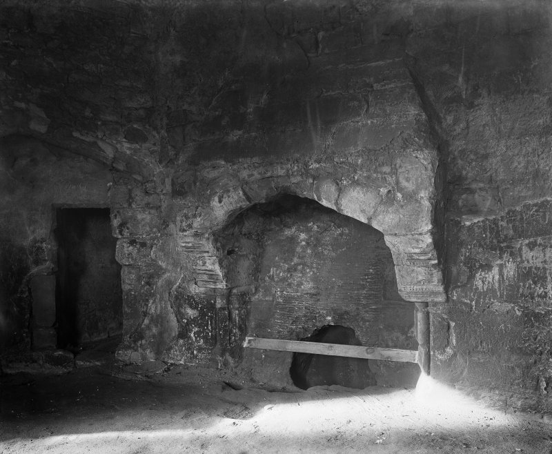 Dirleton Castle. View of fireplace in South West tower.