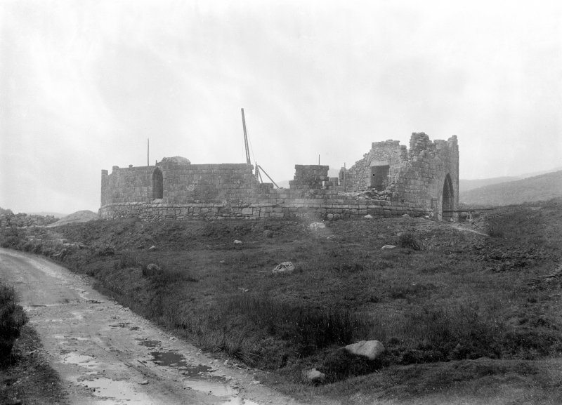General view of castle showing re-erection.