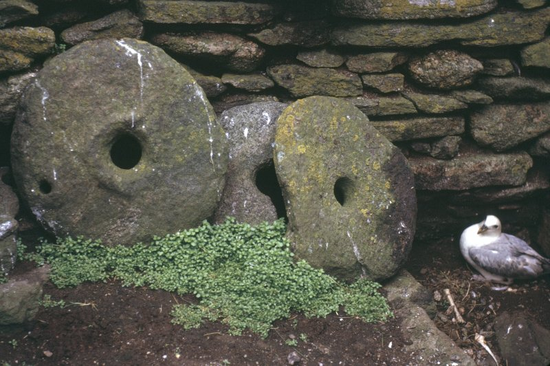 Detail of carved mill stones in chapel interior.