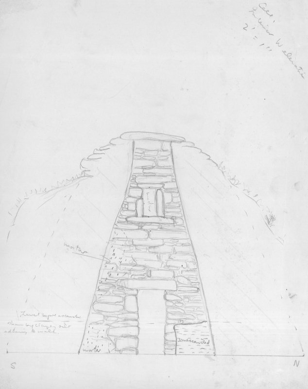 "Section of Church, Oratory Interior(West Elevation), Pencil, 1"":2ft, HW63SW 1"