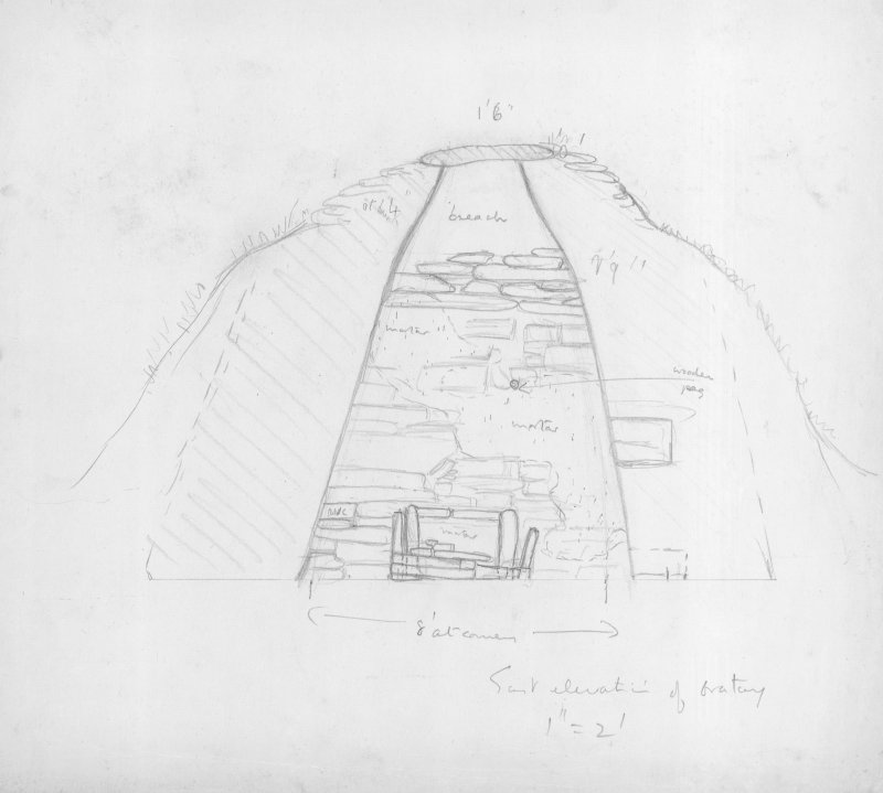 "Section of Church, Oratory, Interior (East Elevation), Pencil, 1"":2ft, HW63SW 1"