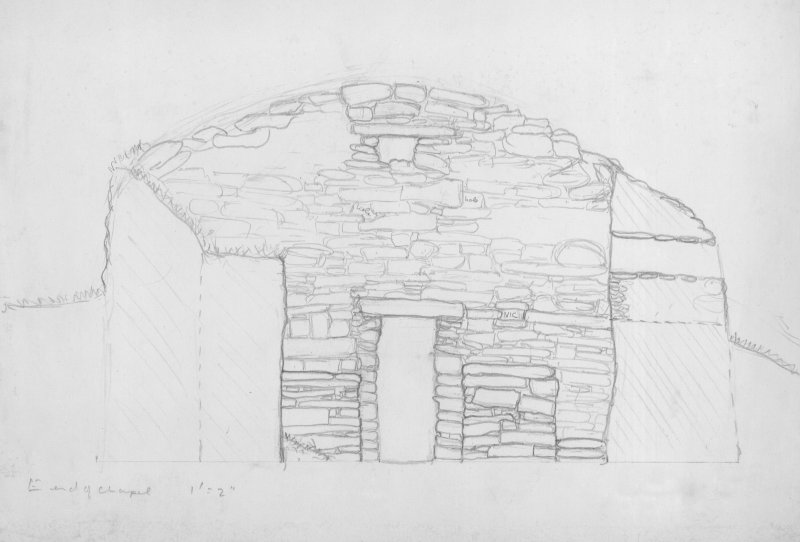 "Section of Church, Nave	Interior (East End), Pencil, 1"":2ft, HW63SW 1"