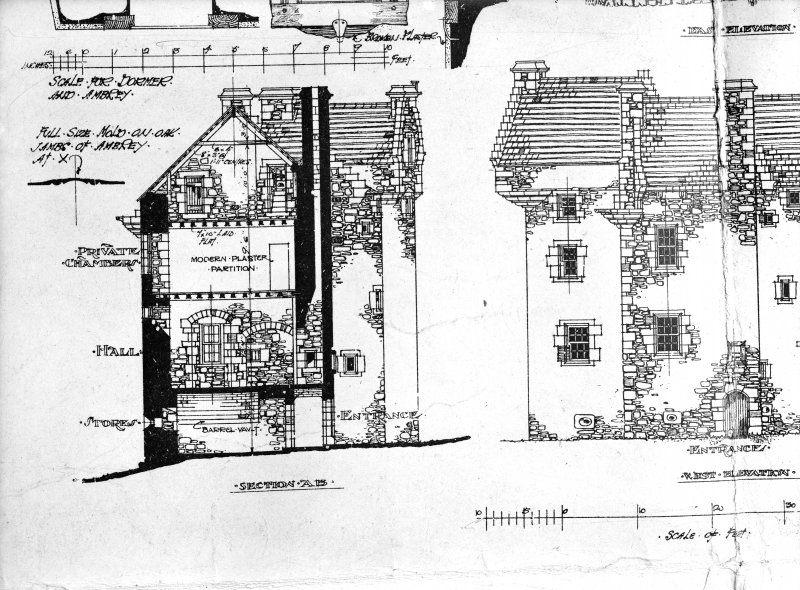 Dundee, Claypotts Road, Claypotts Castle. Photographic copy of part of drawing showing sections AB and West elevation.