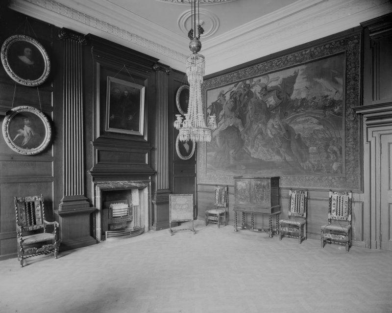Interior-general view of Duchess of Hamilton's Drawing Room in Holyrood Palace