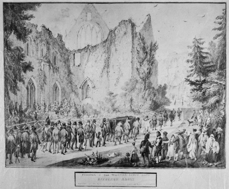 Photographic copy of drawing showing funeral of Sir Walter Scott.