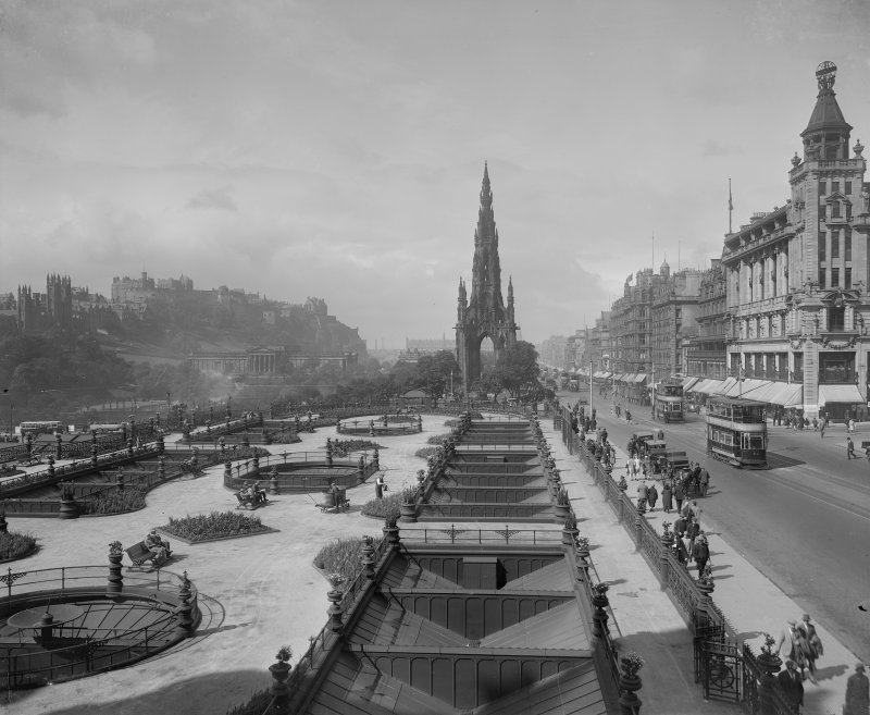 View from east showing Scott Monument and Princes Street, including Waverley Gardens