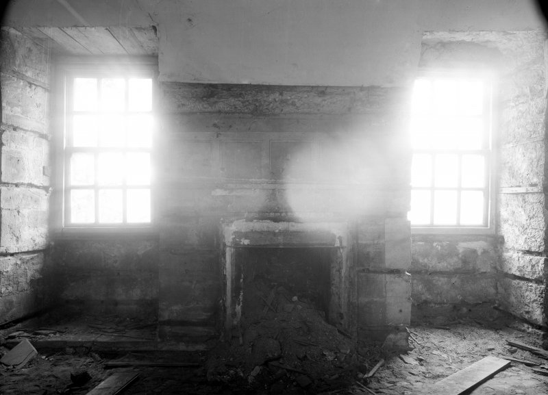 Interior. View of fireplace.