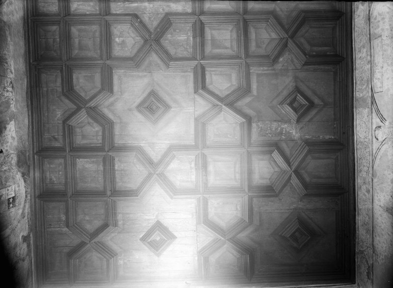 Interior. View of panelled ceiling.