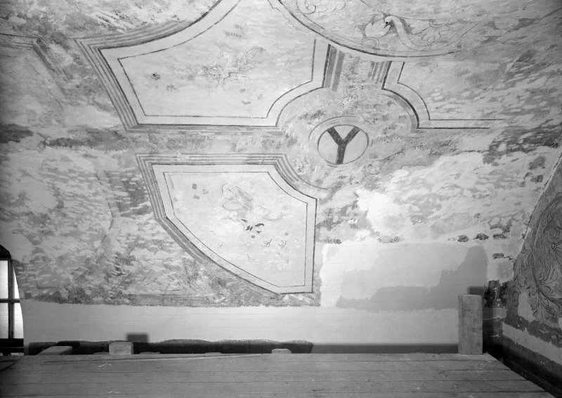 Interior. Detail of painted ceiling in N room.