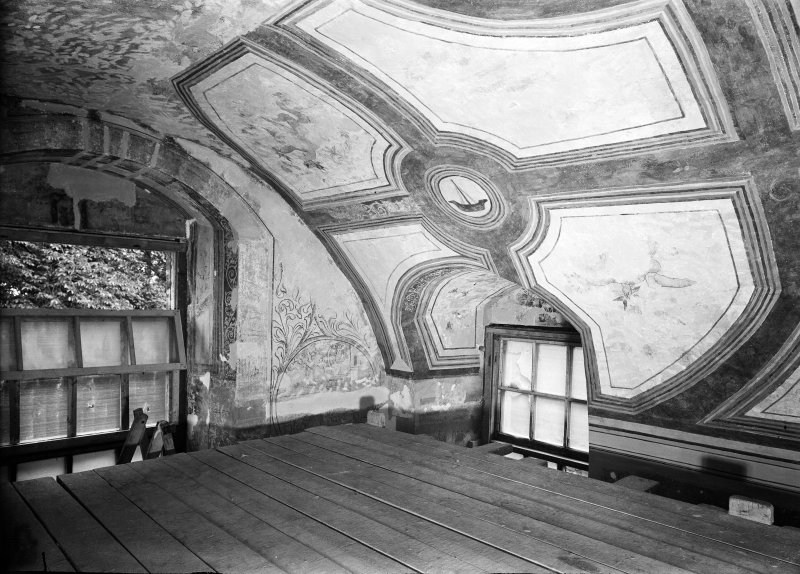 Interior. Detail of painted barrel ceiling in N room.