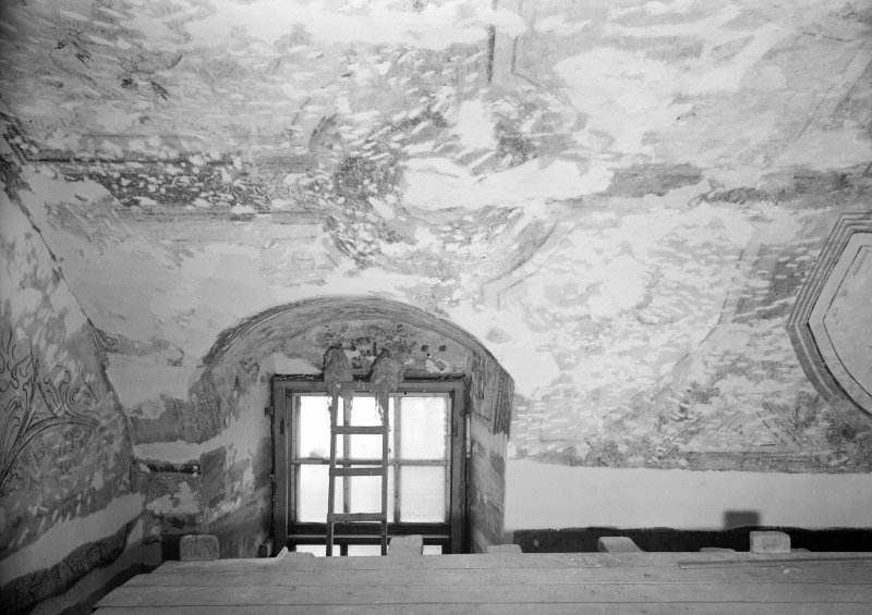 Interior. View of damaged area of painted barrel ceiling of N room.