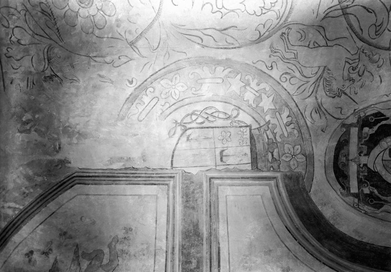 Interior. Detail of painted ceiling of N room.