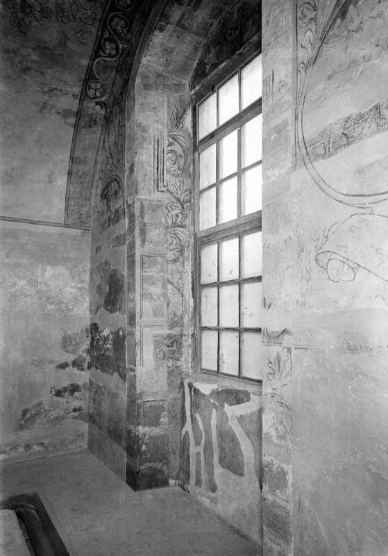 Interior. View of painting windows in N room.
