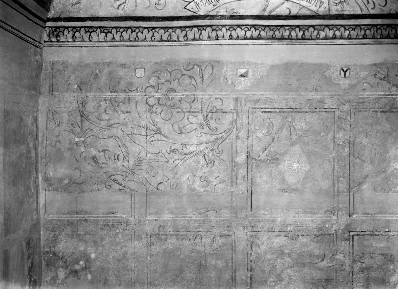 Interior. Detail of painted wall in N room.