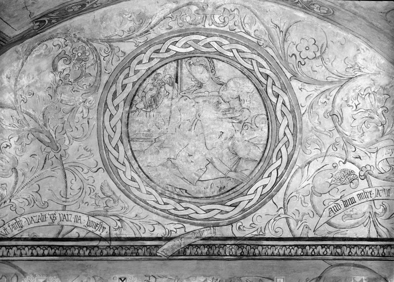 Interior. View of painted arch of barrel ceiling after restoration.