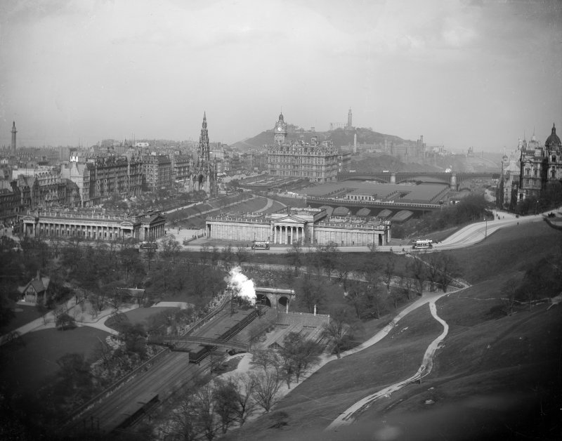 View looking east from Edinburgh Castle to Princes Street, The Mound, Calton Hill etc.