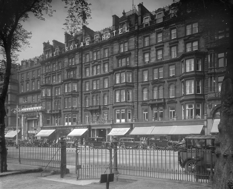 View from south east of the Royal Hotel, Edinburgh, also showing 52 - 57 Princes Street.
